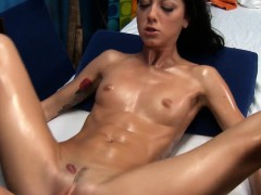 Clean shaved pink cunt of stunning girl is fucked by ramrod