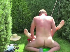 German Dad Seduce Step-Daughter to Fuck in the Garden