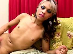 Brazilian Petite Tgirl Tugging On Her Cock