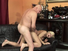 euro woman pleasuring old mans penis