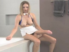Naughty Nymphos Nail The Biggest Strap-on Dildos And Spray L