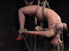 sexy milf tormented with a suspended hogtie