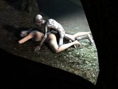 gollum bangs blonde woman inside a cave