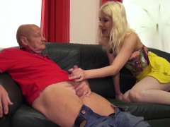 sweet blonde with a hot body gives an amazing blowjob to an