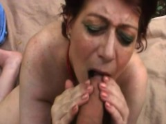 chubby granny tamara blowing long cock in woods