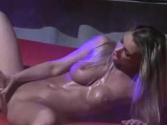 Busty Blonde Orgasm On Public Stage