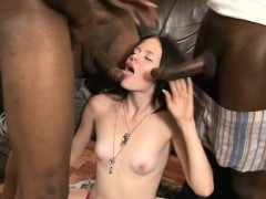 Pretty Slut Gets Banged By Big Black Cocks On The Couch