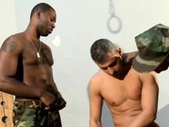 Black Soldiers Spitroasting Cuffed Prisoner