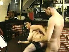 Brunette In Stockings Sucks Big Cock And Fucks It