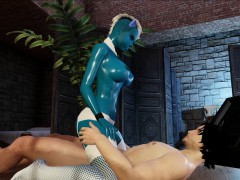 fantasy blue virtual 3d alien with massive tits rides hard!