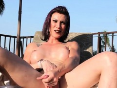 Busty Tgirl Jerking Before Outdoor Pissing