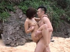 Mind Blowing Outdoor Trio With Slim Beauty Saya Tachibana