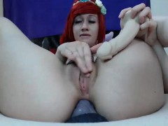 cute redhead babe toying her cunt