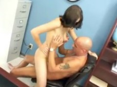 Busty Brunette Teen Gets Her Pierced Pussy Fucked By Her