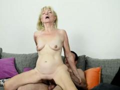 saggy grandma receives jizz in mouth