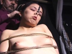 Bizarre JAV BDSM shibari rope binding and nose hooks