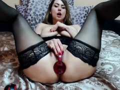 olivia backdoor masturbation and analsex in stockings