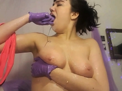 amateur german monster boob brunette shower shave