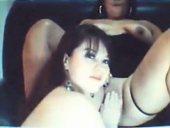 two chubby brunettes go lesbian in webcam movie