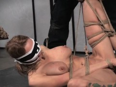Big Titted Sub Tied Up And Clamped By Maledom