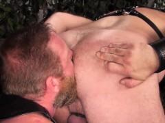 Chubby Leather Bear Barebacked With Cummy Cock