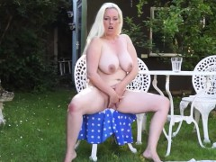 big titted blonde mom fingering herself outdoor