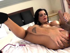 Muscular Latin Tgirl Gets Her Tight Ass Toyed