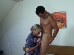 Old granny moaning riding young cock