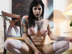 Tattooed Trans Goddess Wanks Cock Till Cum