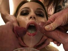 Hot Pornstar Bukkake And Swallow