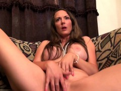 Busty brunette American mom playing with herself