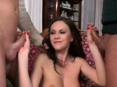 Brunette Pornstar Threesome And Facial Cum