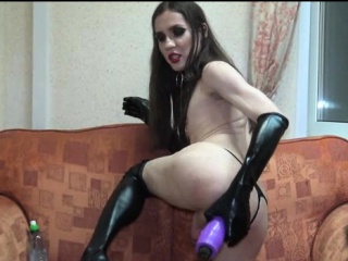 Tgirl Eats Own Cum and Fucks Monster Toy!