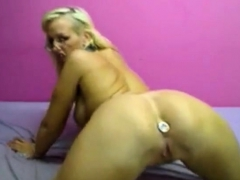 sexy blonde on webcam stuffed dildo in her anal hole Hot