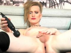 Goth Trans Toys Cock In Solo Masturbation