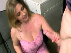 Handjob cougar jizz loaded in washing room