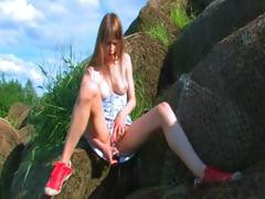 toying-and-fingering-outdoor-hole