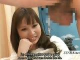 Subtitled weird CFNM Japanese amateur testicle massage