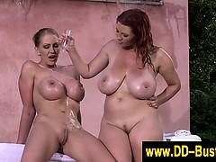 Tit Squeezing Busty Lez Babes