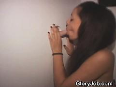 Half Black Ghetto Slut Sucking Dick At Glory Hole
