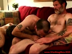Mature Gay Group Blowing Dick Action