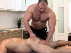 Straight Bear Gets Rubbed By Buff Masseur