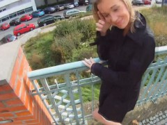 Fucking Glasses Blonde Cutie Tricked Into Outdoor Sex