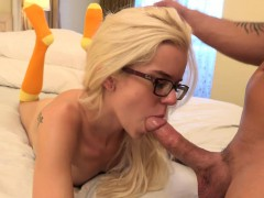 Sexy Blonde Gives A Footjob And Gets Fucked Hard
