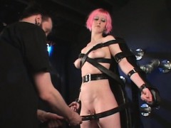 Horny Bdsm Sex Slave Pussy Teased While She Gets Strapped