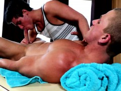 Beefy Straight Guy Being Spoiled By His Favorite Masseur