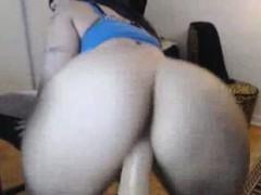 Cute Woman With Big Ass Riding Dildo