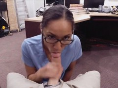 Babe In Glasses Gets Her Pussy Fucked For A Desperate Money