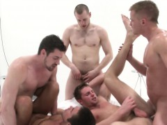 Gay Jocks Orgy Cums To An End On His Chest