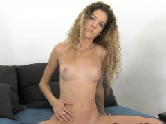 Curly Haired Amateur Posing In Casting